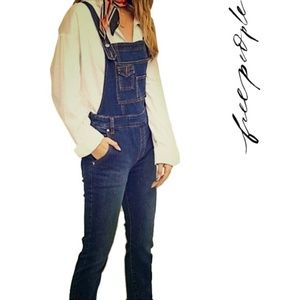 Free People Dark Wash Denim Overalls